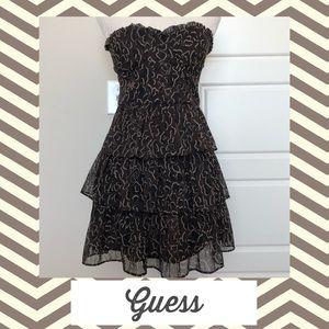 Guess Strapless Mini Dress Tiered Cheetah Print